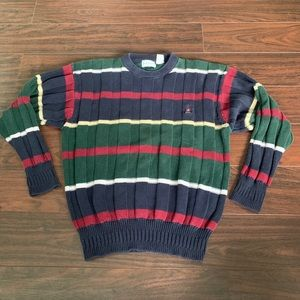 Vintage Izod Crazy Color Block Textured Sweater L